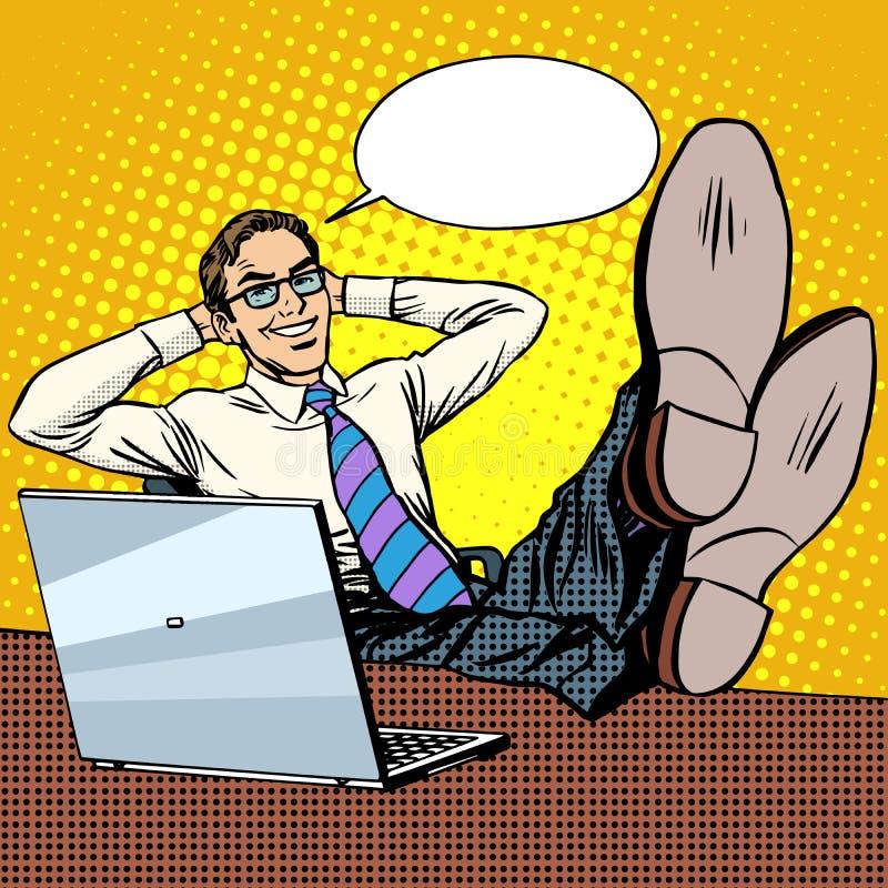Szczęśliwy relaksuje biznesmena przy miejscem pracy blisko laptopu ilustracji