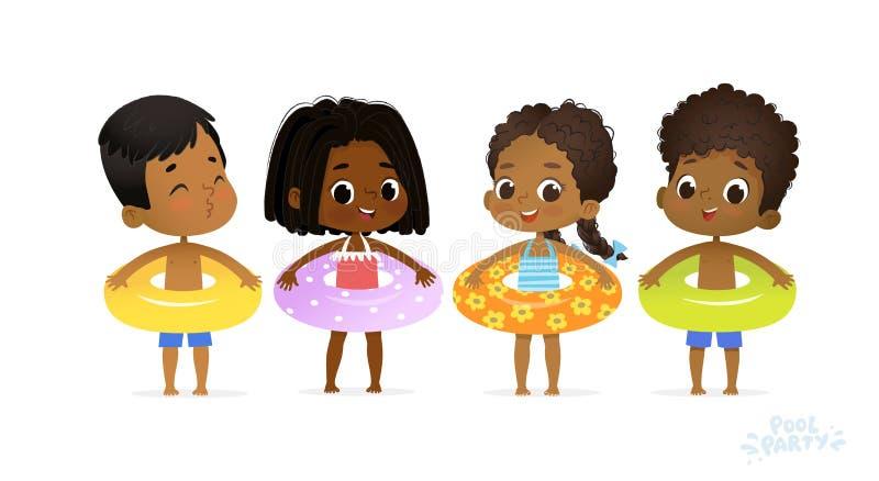 Szczęśliwy Relaksuje Wakacyjnego dziecko basenu przyjęcia Swimsuit chłopiec charakter z koloru żółtego pierścionkiem na zabawa De ilustracja wektor