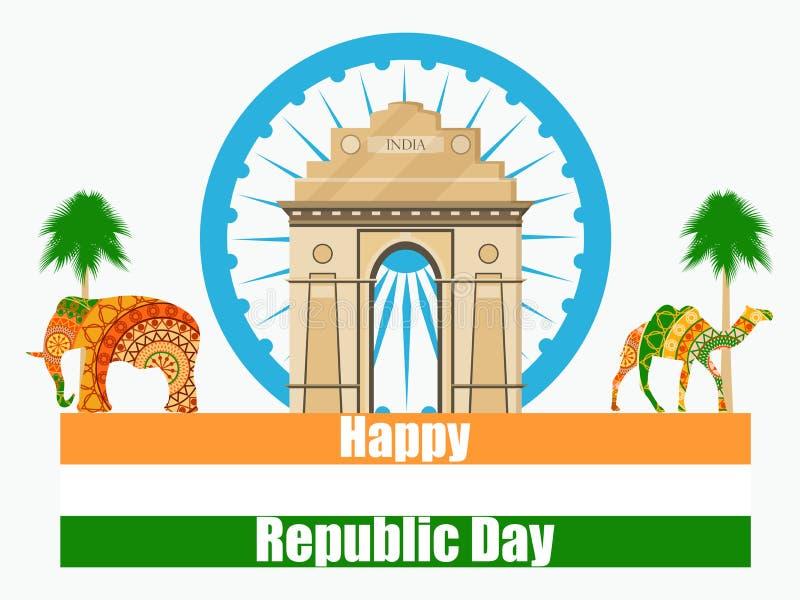 Szczęśliwy republika dzień India Ilustracja India brama ilustracji