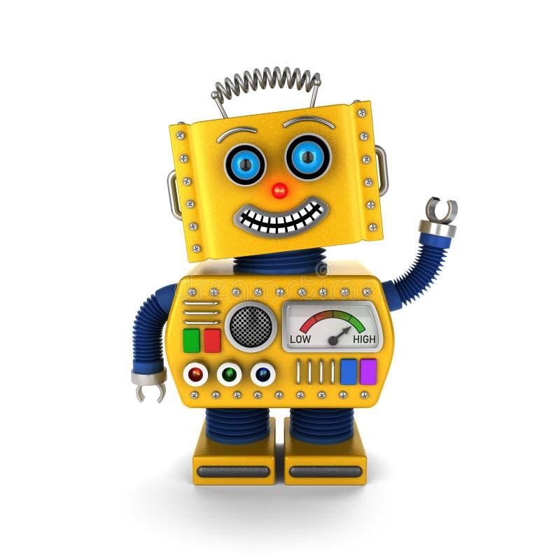 Szczęśliwy rocznik zabawki robota falowanie cześć ilustracja wektor