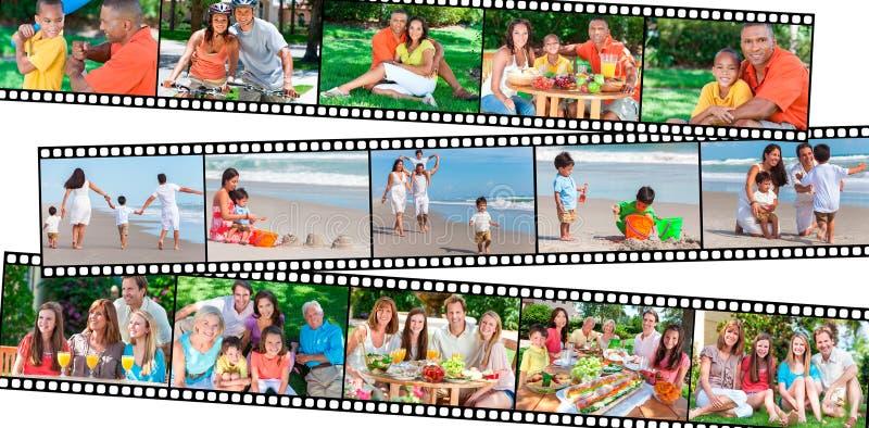 Szczęśliwy rodzin dzieci & rodziców łasowania Zdrowy styl życia fotografia stock