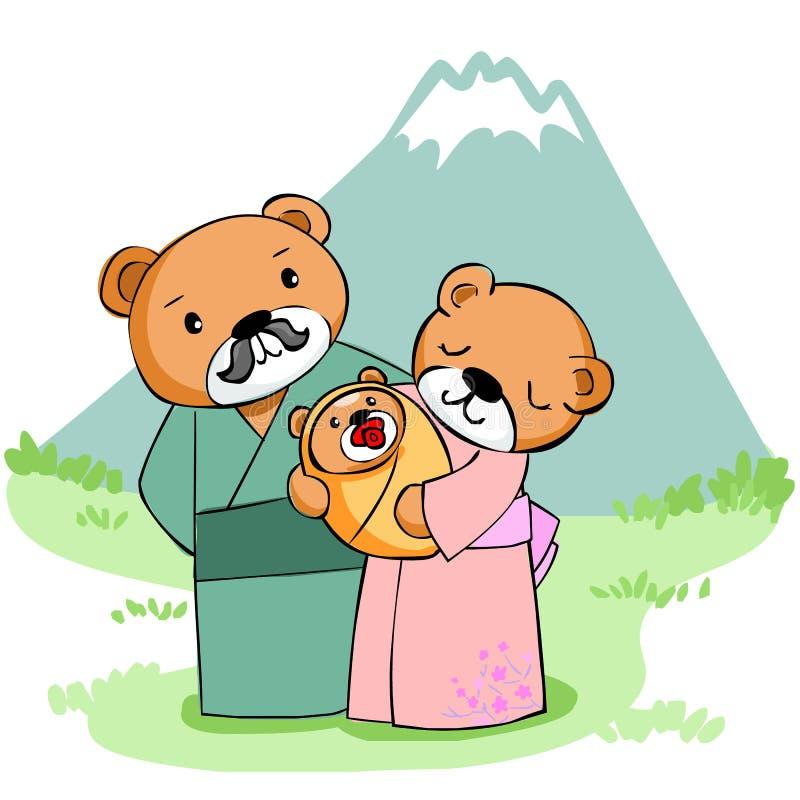 Szczęśliwy rodzina niedźwiedź przy górą ilustracji