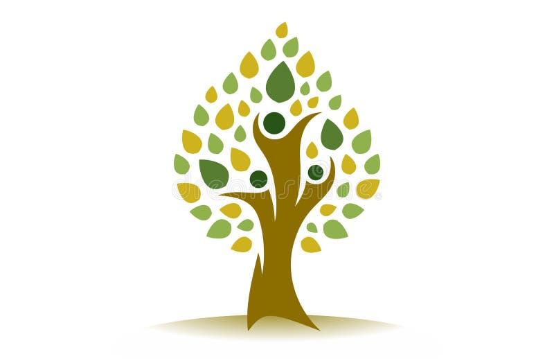 Szczęśliwy Rodzinnego drzewa zieleni logo royalty ilustracja