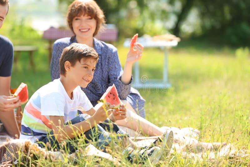 Szczęśliwy rodzinny łasowanie arbuz na lato pinkinie w parku zdjęcia royalty free