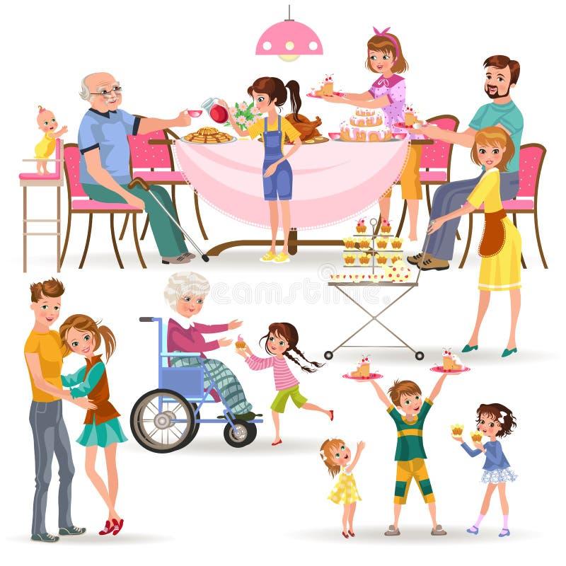 Szczęśliwy rodzinny łasowanie gość restauracji w domu, ludzie je jedzenie wpólnie, mamy i tata, fundy dziadek obsiadanie łomotać  royalty ilustracja