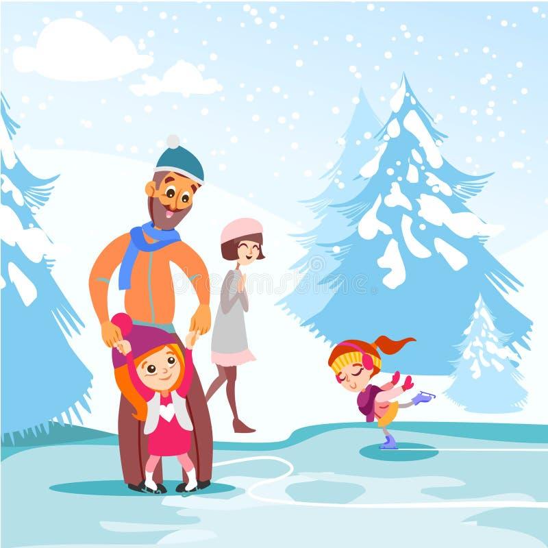 Szczęśliwy rodzinny łyżwiarstwo na lodowym lodowisku w wintergarden wpólnie royalty ilustracja