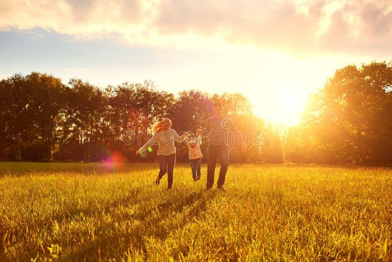 Szczęśliwy rodzinny bawić się na trawie w parku w wieczór obraz stock