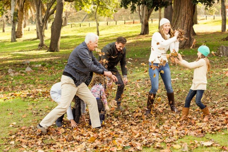 Szczęśliwy rodzinny bawić się w parku wpólnie zdjęcie stock