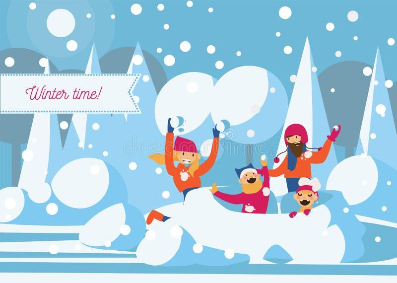 Szczęśliwy rodzinny bawić się z śnieżnym fortem Wektorowa horyzontalna ilustracja royalty ilustracja