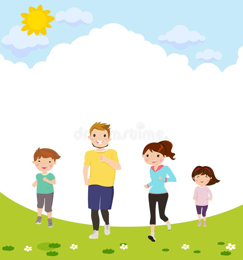 Szczęśliwy rodzinny bieg ilustracji