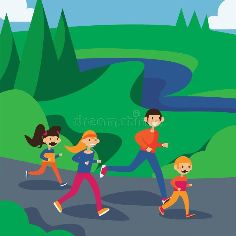 Szczęśliwy rodzinny bieg w parku Kwadratowa kreskówki ilustracja w jaskrawych kolorach ilustracji