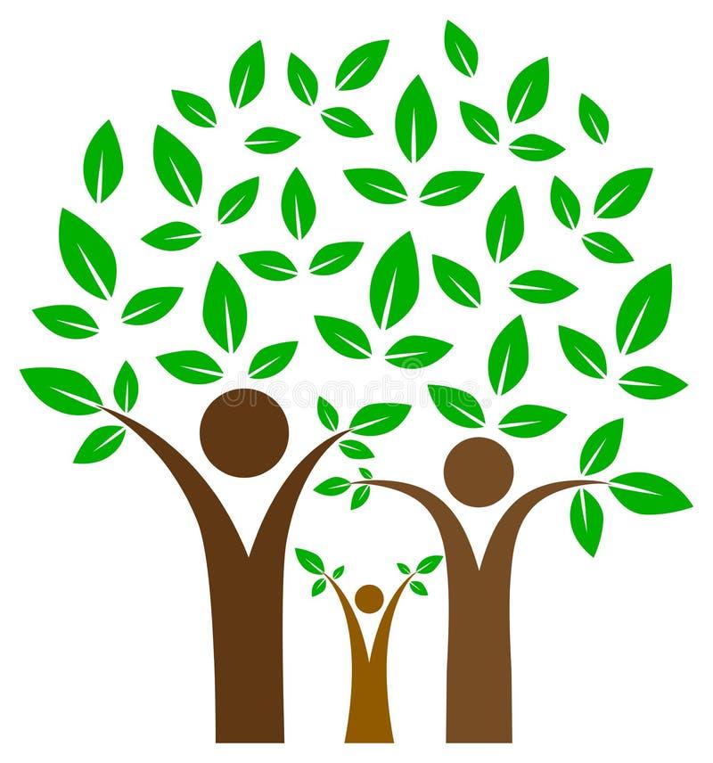 Szczęśliwy rodzinny drzewo na odosobnionym ilustracja wektor