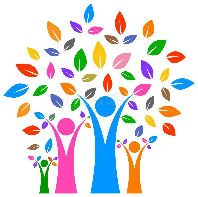 Szczęśliwy rodzinny drzewo z kolorowym projektem royalty ilustracja