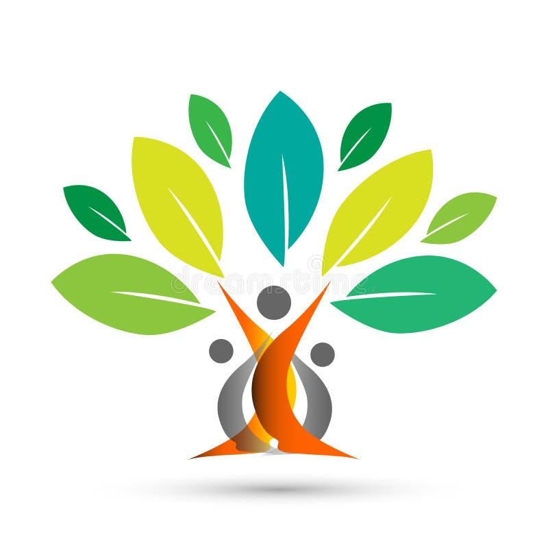 Szczęśliwy rodzinny drzewo z kolorowym projektem na białym tle royalty ilustracja