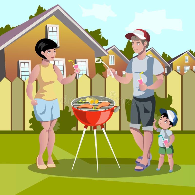 Szczęśliwy rodzinny grill ilustracji