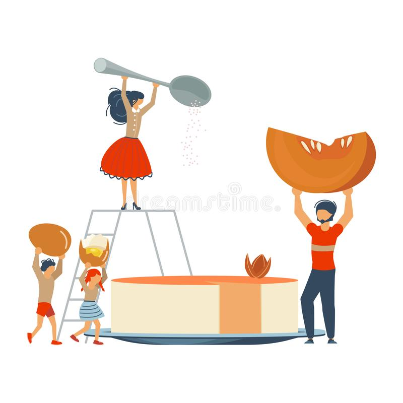 Szczęśliwy rodzinny kucharstwo wpólnie dyniowy kulebiak royalty ilustracja
