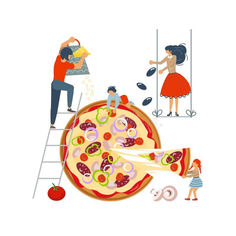 Szczęśliwy rodzinny kucharstwo wpólnie pizza ilustracja wektor