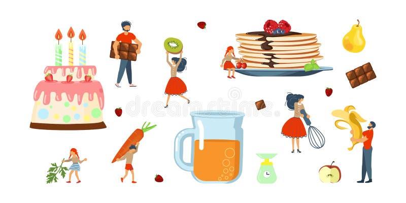 Szczęśliwy rodzinny kucharstwo wpólnie ustawiający ilustracja wektor