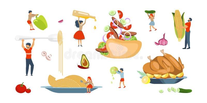 Szczęśliwy rodzinny kucharstwo wpólnie ustawiający royalty ilustracja