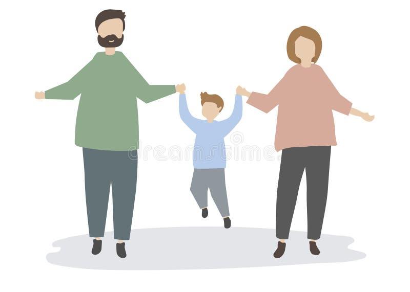 Szczęśliwy rodzinny mienie wręcza ilustrację ilustracja wektor
