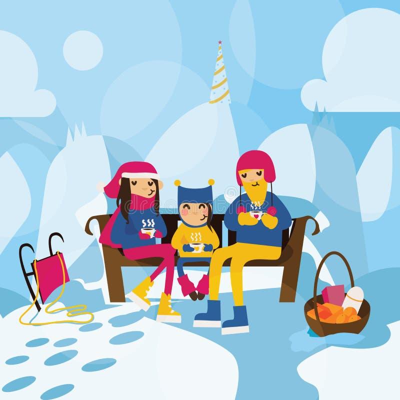 Szczęśliwy rodzinny obsiadanie na ławce na wzgórzu w górach i pić gorącej herbaty lub kakao Zimna zimy pogoda, gęsty śnieg, chris ilustracji