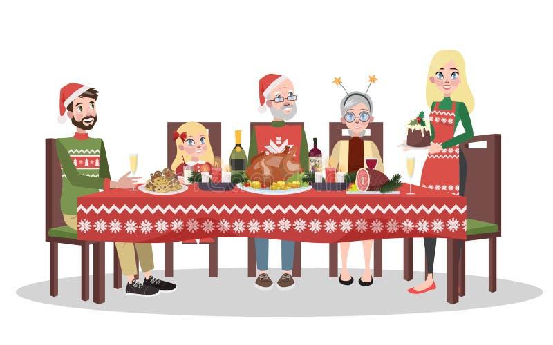 Szczęśliwy rodzinny obsiadanie przy boże narodzenie stołem ilustracja wektor