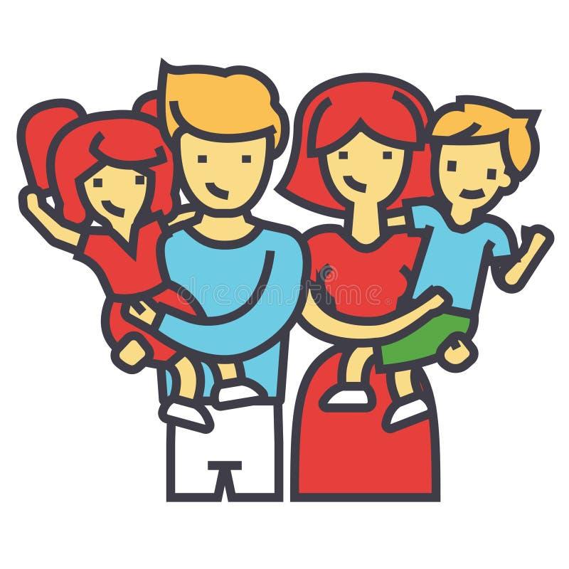 Szczęśliwy rodzinny portret stoi wpólnie, rodzice trzyma dzieci w ich ręki pojęciu ilustracja wektor