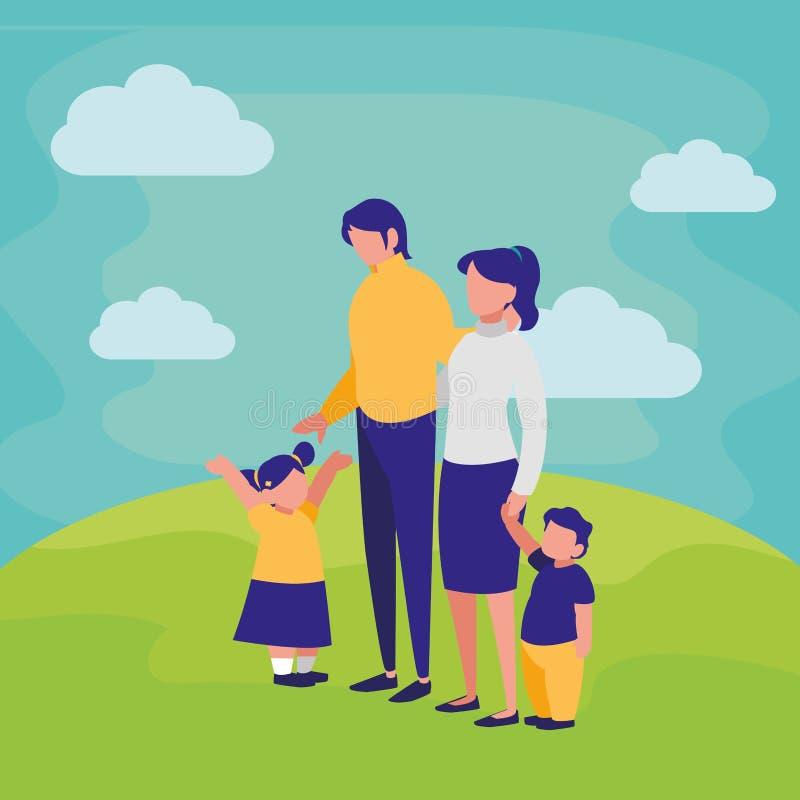 Szczęśliwy rodzinny projekt ilustracja wektor