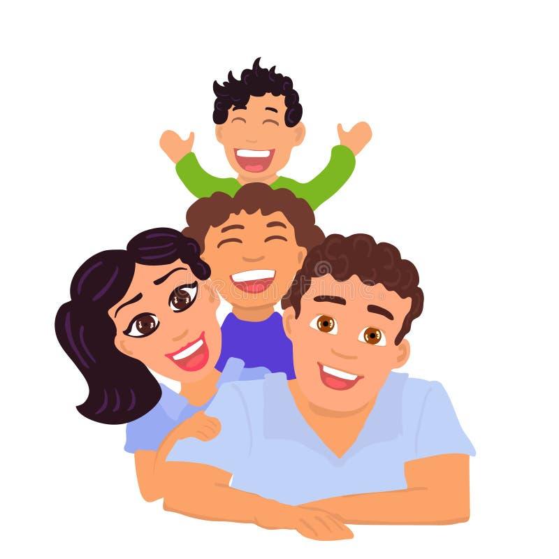 Szczęśliwy rodzinny tata, mama, córka i syn, wektor royalty ilustracja
