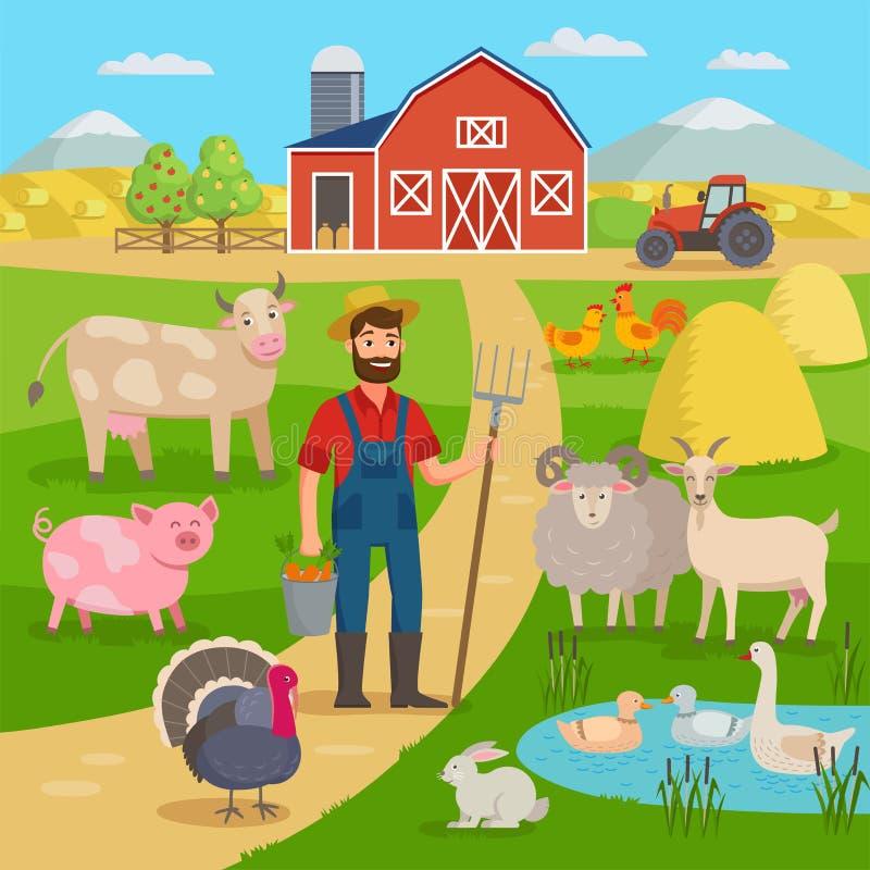 Szczęśliwy rolnik z rolniczym krajobrazem i zwierzętami gospodarskimi stoi przed rolnymi polami z uprawą i stajnią eco ilustracji