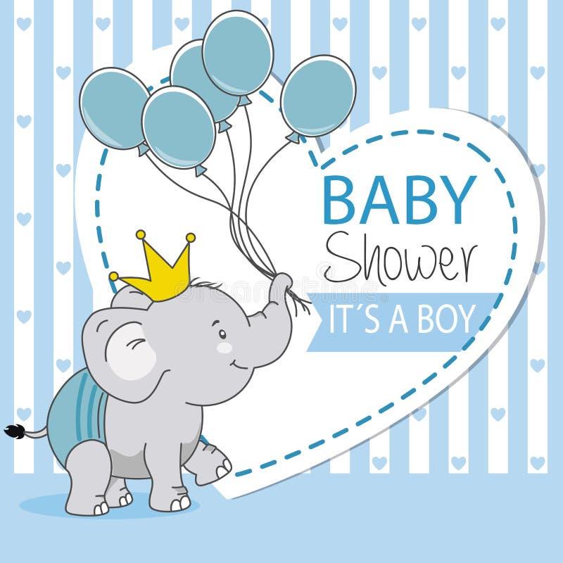 Szczęśliwy słoń z koroną i balonami ilustracja wektor