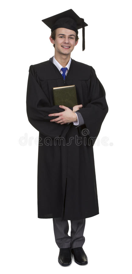 Szczęśliwy samiec absolwent Z książką obraz royalty free