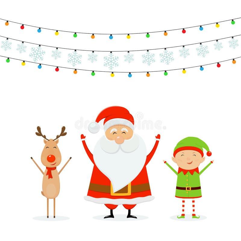 Szczęśliwy Santa z Reniferowym i Ślicznym elfem z bożonarodzeniowe światła i ilustracja wektor