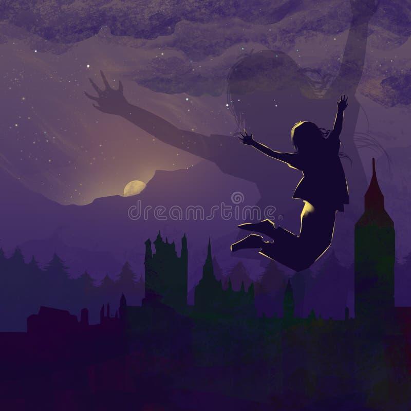 Szczęśliwy skok przy świtem miasto, Z podnieceniem Nowy dzień Zaczynać ilustracja wektor