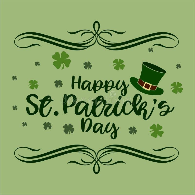 Szczęśliwy St Patrick dzień Typhography Z tłem royalty ilustracja
