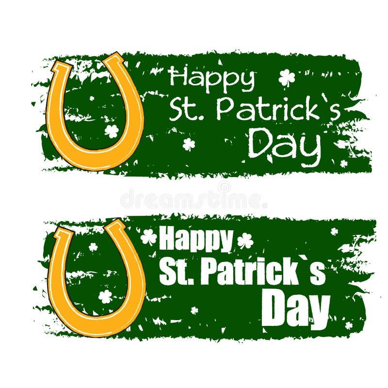 Szczęśliwy St. Patrick dzień z podkowa znakiem, zielenieje patroszonych sztandary royalty ilustracja