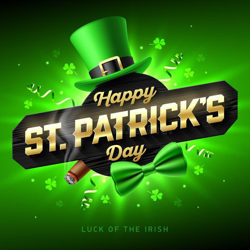 Szczęśliwy St Patrick ` s dnia kartka z pozdrowieniami ilustracja wektor