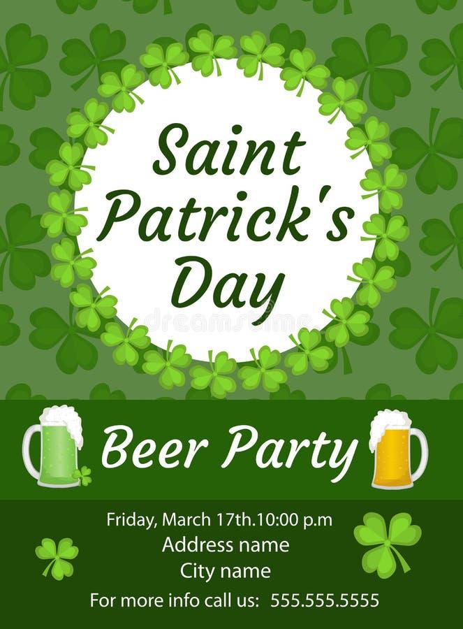 Szczęśliwy St Patrick ` s dnia zaproszenie, plakat, ulotka Piwo Partyjny szablon dla twój projekta również zwrócić corel ilustrac ilustracja wektor