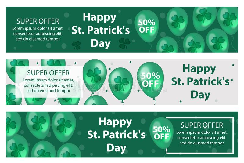 Szczęśliwy St Patrick ` s dzień ustawiający horyzontalni sztandary z balonami, koniczyna, shamrock Szablon dla twój projekta, ulo royalty ilustracja