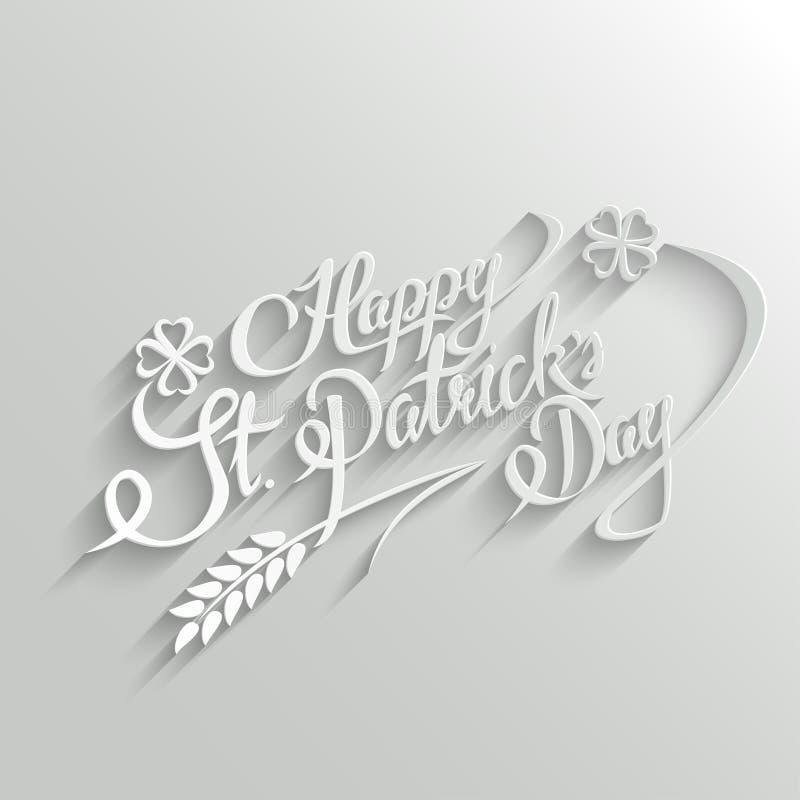 Szczęśliwy St Patricks dnia literowania kartka z pozdrowieniami ilustracji
