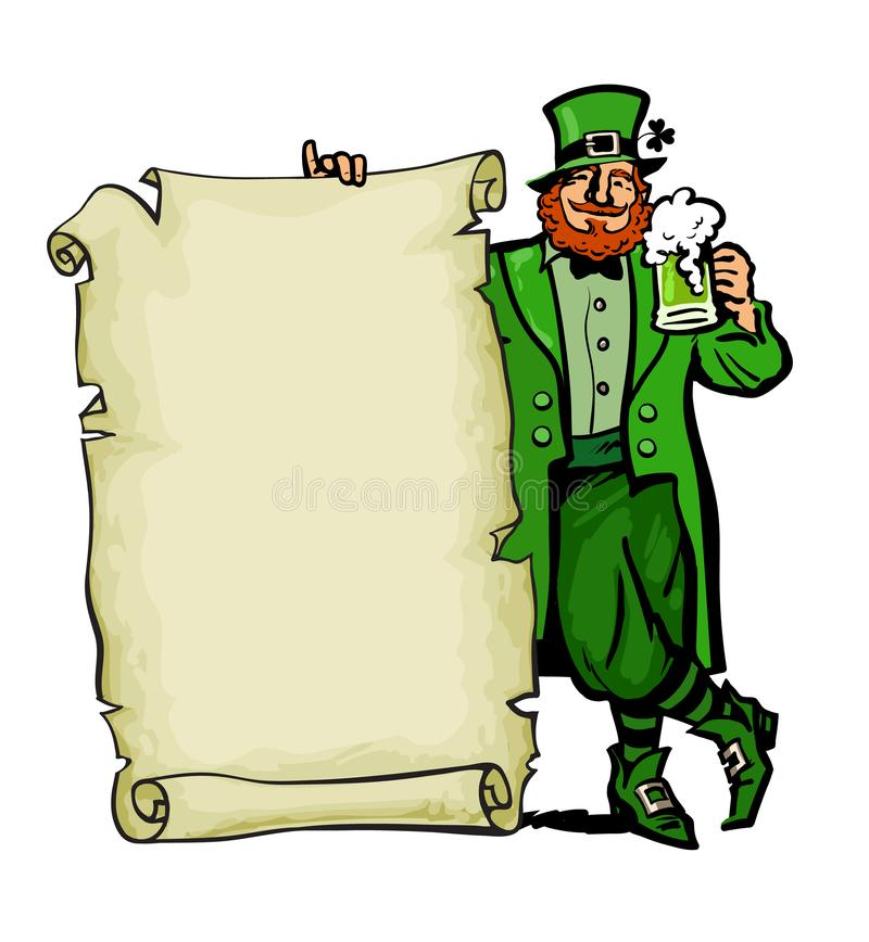 szczęśliwy st patricks dnia plakat Leprechaun charakter trzyma tradycyjnej zimno zieleni piwnego kubek i starą papierową ślimaczn ilustracji