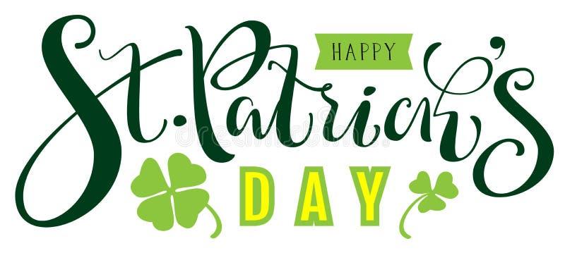 Szczęśliwy St Patricks dnia tekst dla kartka z pozdrowieniami royalty ilustracja