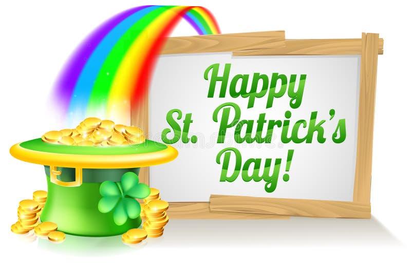Szczęśliwy St Patricks dnia znak ilustracja wektor