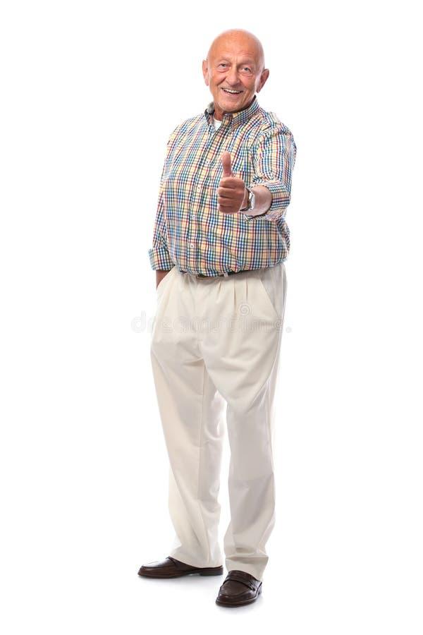 Szczęśliwy Starszy Mężczyzna Pokazywać Aprobaty Obrazy Royalty Free