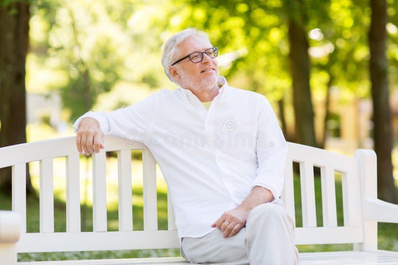 Szczęśliwy starszy mężczyzna siedzi przy lato parkiem w szkłach obrazy stock