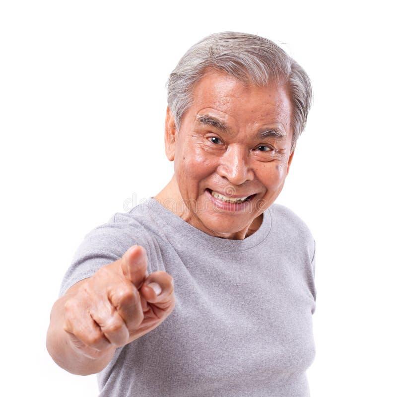 szczęśliwy starszy mężczyzna wskazuje przy tobą zdjęcie royalty free