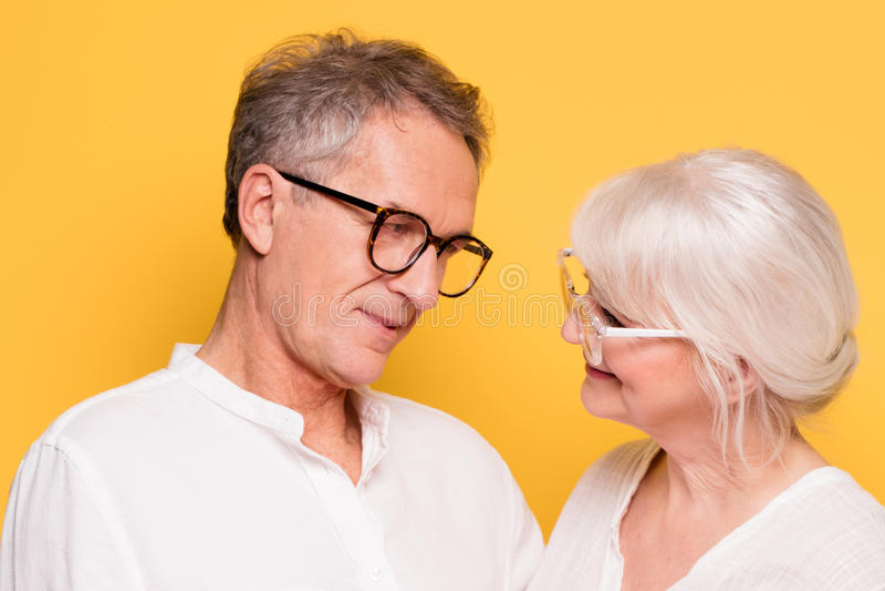 Szczęśliwy starszy pary pozować fotografia royalty free