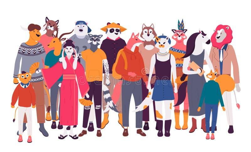 Szczęśliwy stary i młodzi człowiecy, kobiety ilustracji