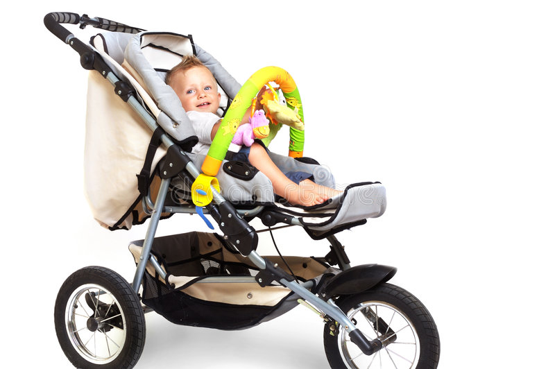 szczęśliwy stroller dziecko fotografia royalty free