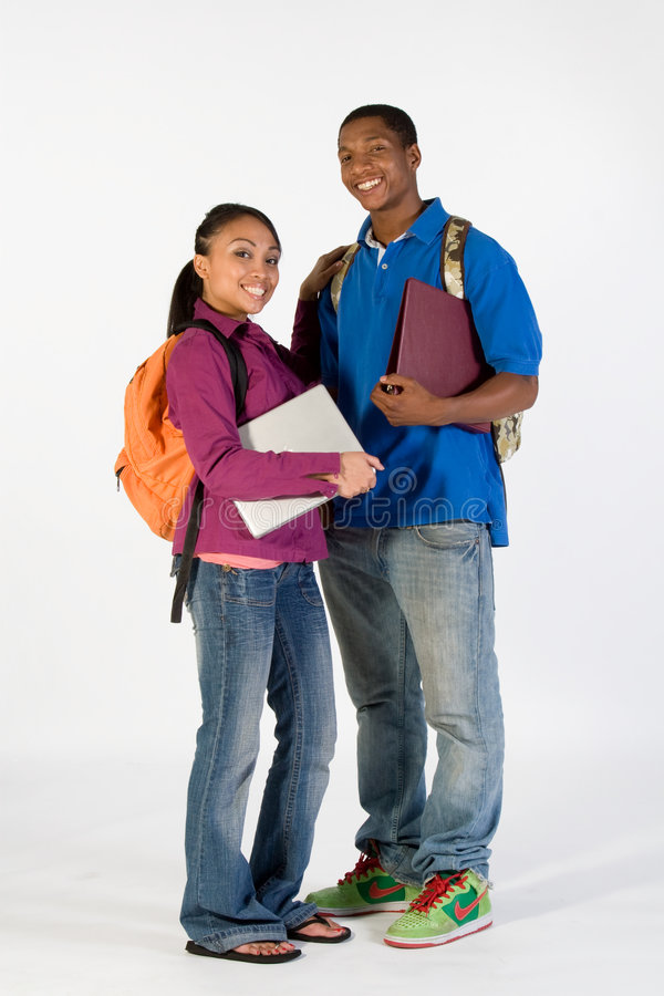 szczęśliwy studentów dwie pionowe obraz stock